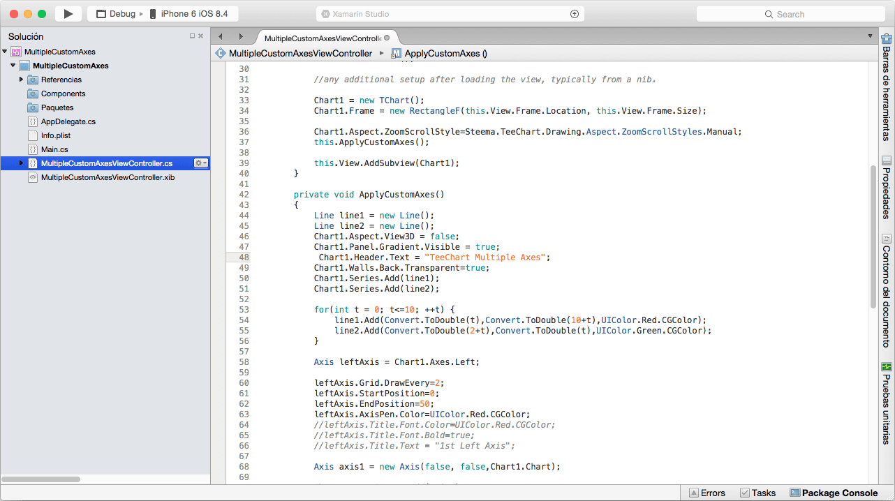 TeeChart for Xamarin.iOS being coded in Xamarin Studio on the Mac.