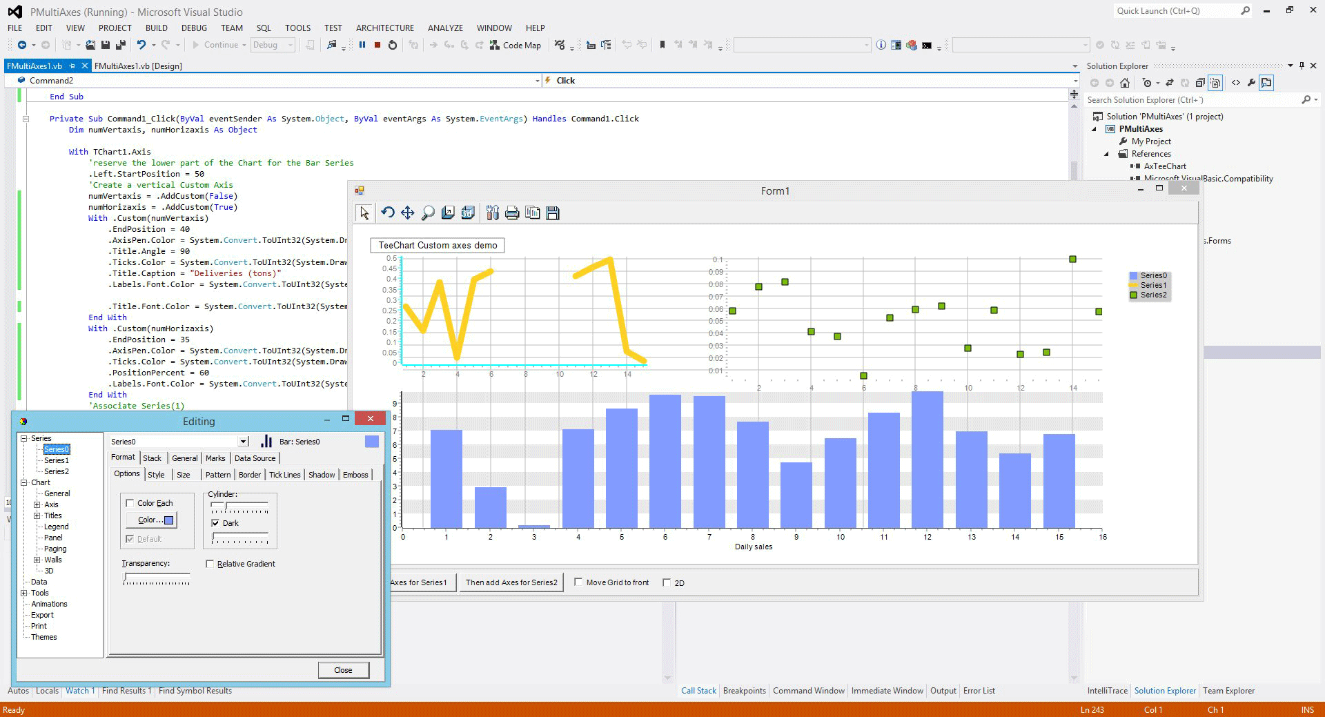 Using TeeChart for ActiveX in Visual Studio .NET using Visual Basic
