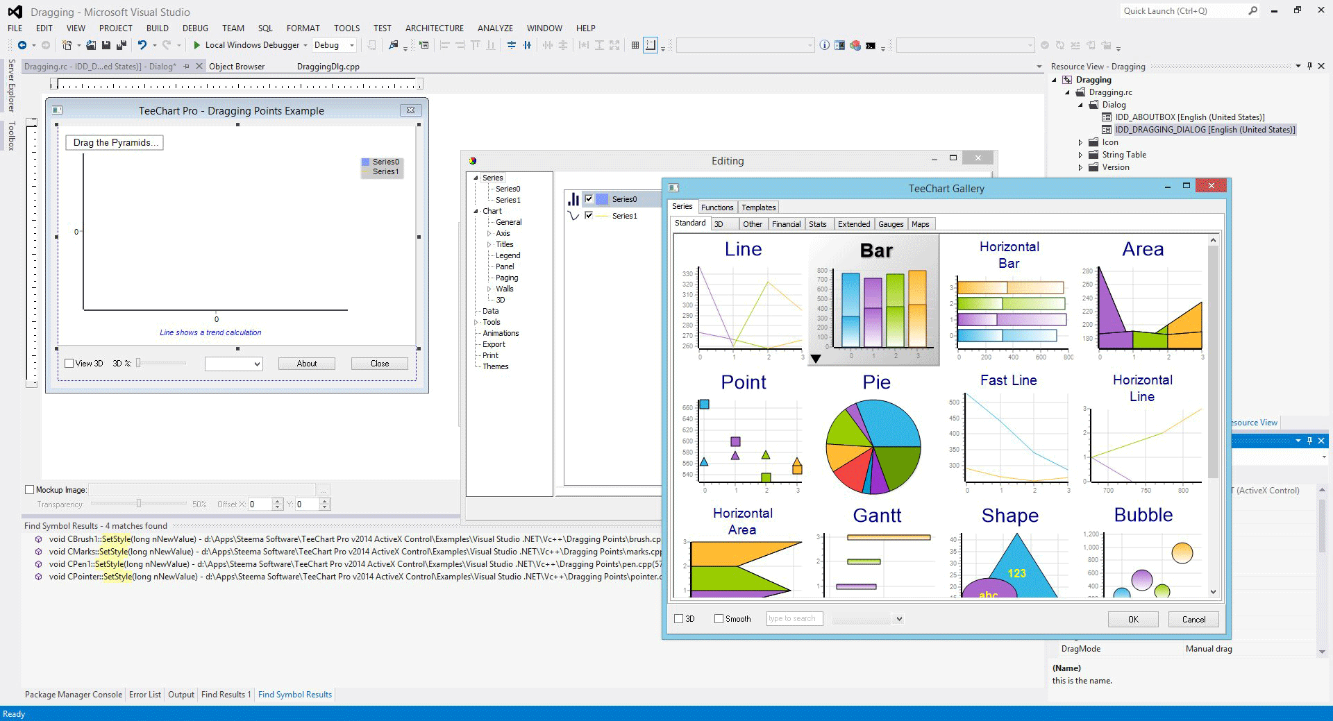 Click to view TeeChart Pro ActiveX screenshots