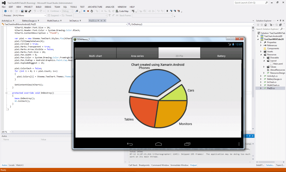 Sample Pie Chart created using TeeChart for .NET and  Xamarin.Android