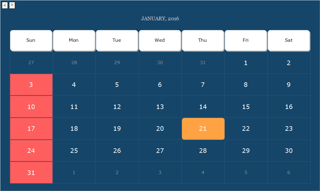 The Calendar series displays monthly calendars, in a similar way as Microsoft Calendar control. Many customization options are available