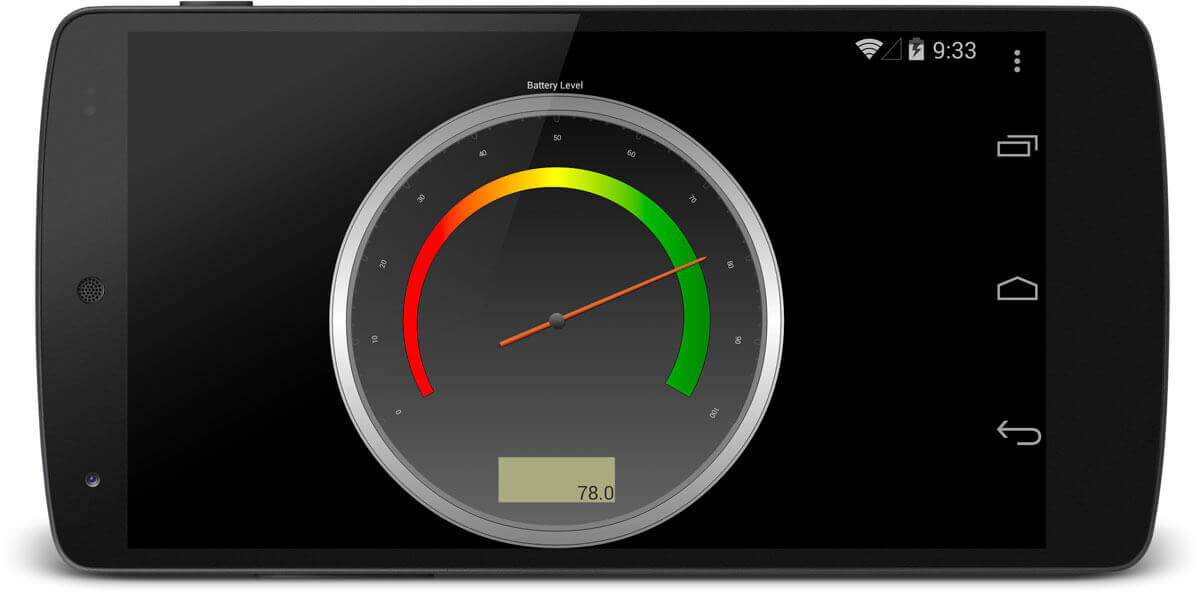 Circular Gauge with Numeric LCD panel readout made with Xamarin.Android on mobile device.