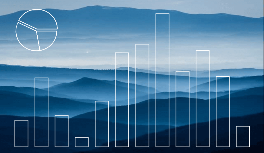 Sample combination vertical Bar and Pie Chart over a landscape image background