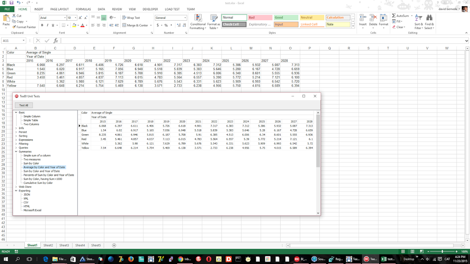 Automatic export to Microsoft Excel